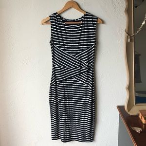 Black and white striped mid length dress